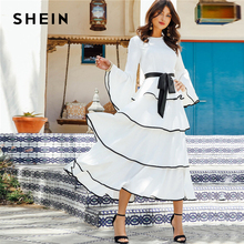 Shein elegante contraste branco encadernação plissado em camadas bainha com cinto maxi vestido feminino outono plissado ajuste e alargamento vestidos de cintura alta