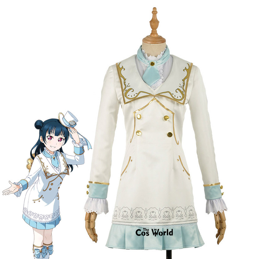 Amour Live Sunshine Aqours Alice Tsushima Yoshiko manteau chemise robe tenue uniforme Anime Cosplay Costumes