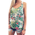 Women Tank tops Ladies Casual Loose Camo Floral Printed Tank Tops Summer Sexy Lace Crochet Blouse Beach Vest Tee Shirt Tops Girl