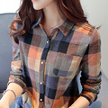 NEW 2016 Cotton Shirt Women Classic Plaid Shirts  New Plaid Women Blouse Casual Shirt Long Sleeve Tops Plus size blouse 901H 30