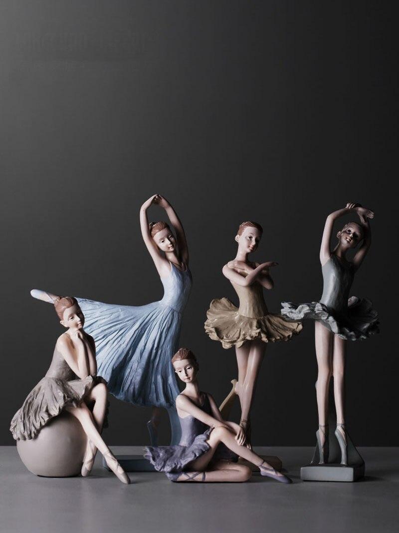 Vente chaude ballerine fille danse résine statue élégante figure artisanat créatif maison bureau décoration danse fille ornements