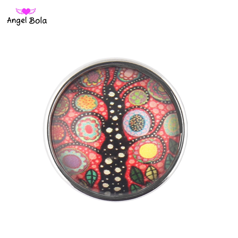 NS002-34 18MM Glass Cabochon Ginger Life Tree Snap Buttons Fit DIY Snap Bracelet Jewelry OEM ODM Print Buttons 12PCS/LOT