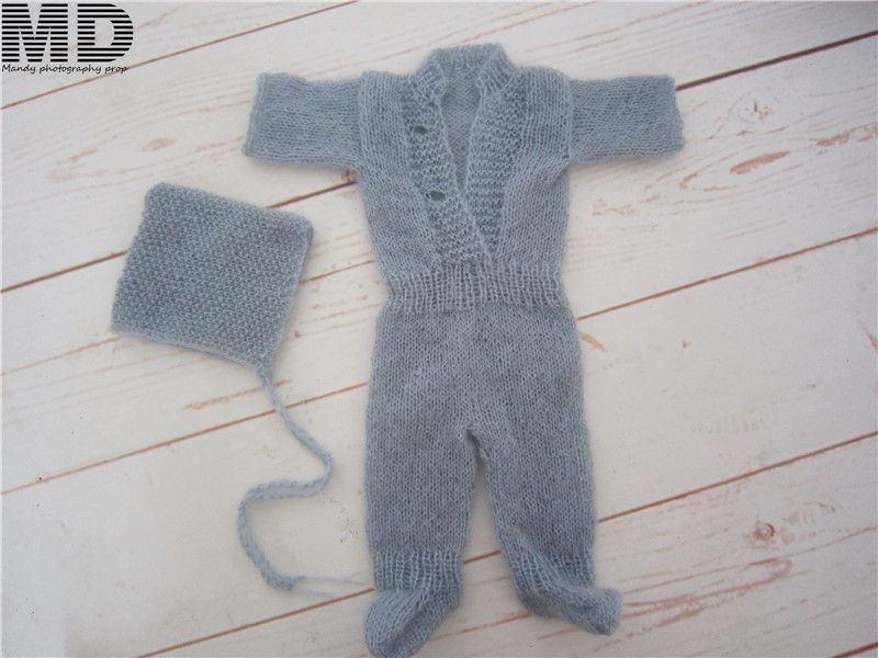 Newborn mohair clothes dress Hooded romper with feet,Mohair jumpsuits with matching hat,newborn romper for photography props oasis mohair