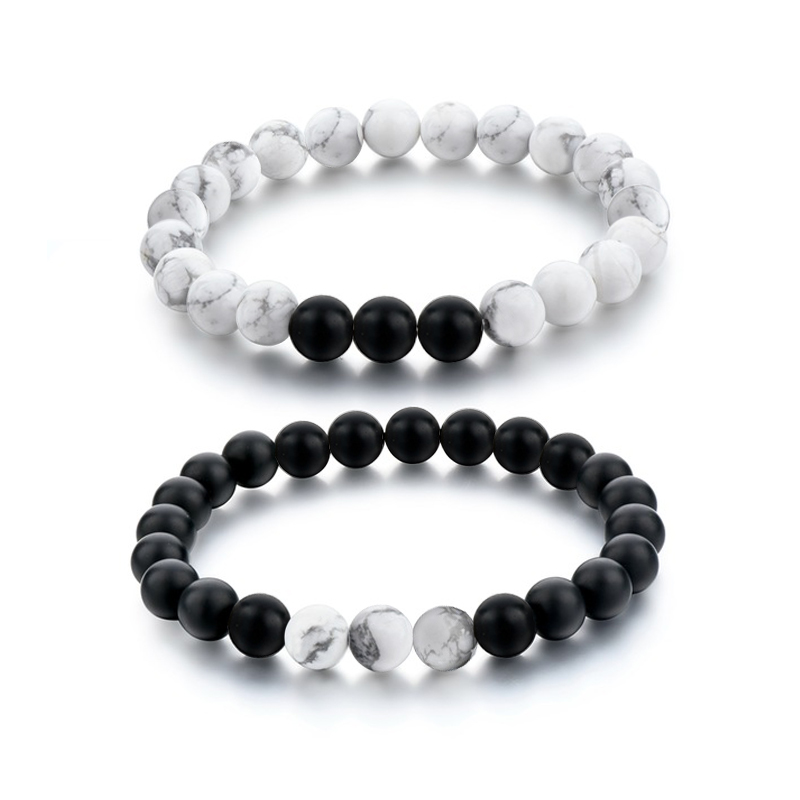 Fashion Black White Natural Stone Distance Beads Bracelet Charm Men Bracelets Boy Yoga Wristband Jewelry Gift For Women Lover