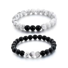 Fashion Black White Natural Stone Distance Beads Bracelet Charm Men Br