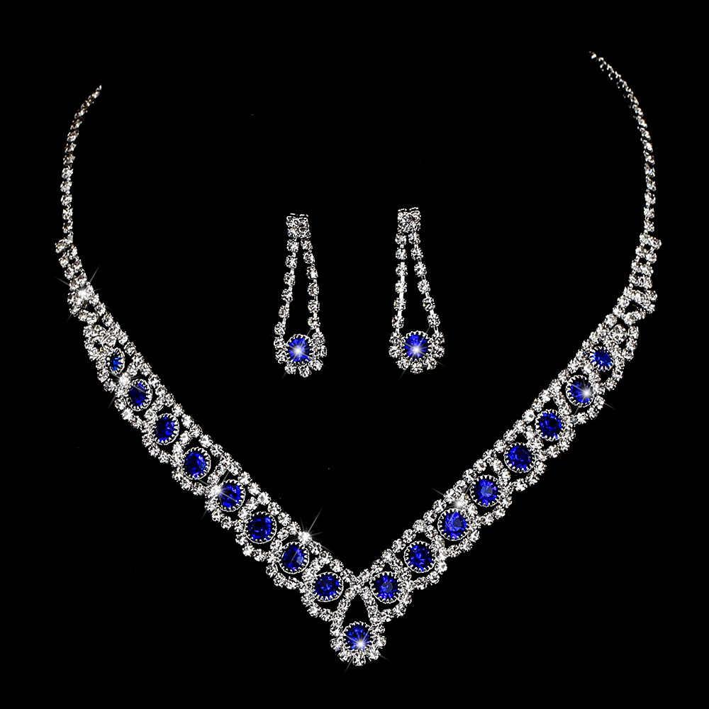 BLIJERY حلية الملكي الأزرق كريستال مجوهرات الزفاف مجموعات حجر الراين بيان المختنق قلادة أقراط النساء مجموعات مجوهرات الزفاف