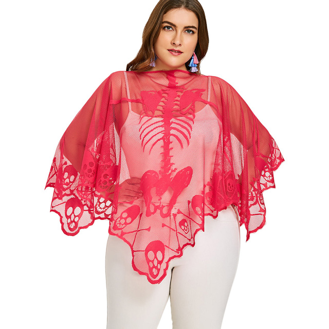 ZAFUL Plus Size Skeleton Embroidery Lace See Thru Poncho Blouse Summer  Beach Smock Sexy Batwing Sleeve
