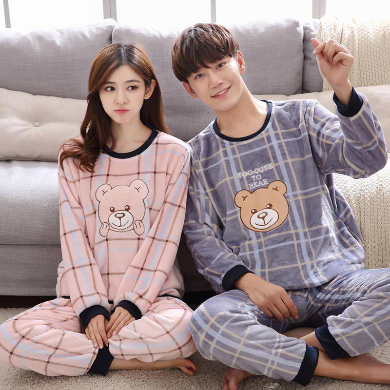 Winter Couple Letter Plus Thick Warm   Pajamas   with Cartoon Bear Long Sleeve O Neck Warm Large Size Lover   Pajama     Sets   Home Suits