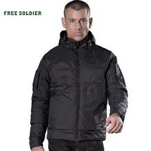 Мужская куртка-пуховик с гусиным пухом FREE SOLDIER, зимнее пальто для кемпинга, пешего туризма, спорта на открытом воздухе, теплое пальто, куртка с капюшоном, 80% белый гусиный пух