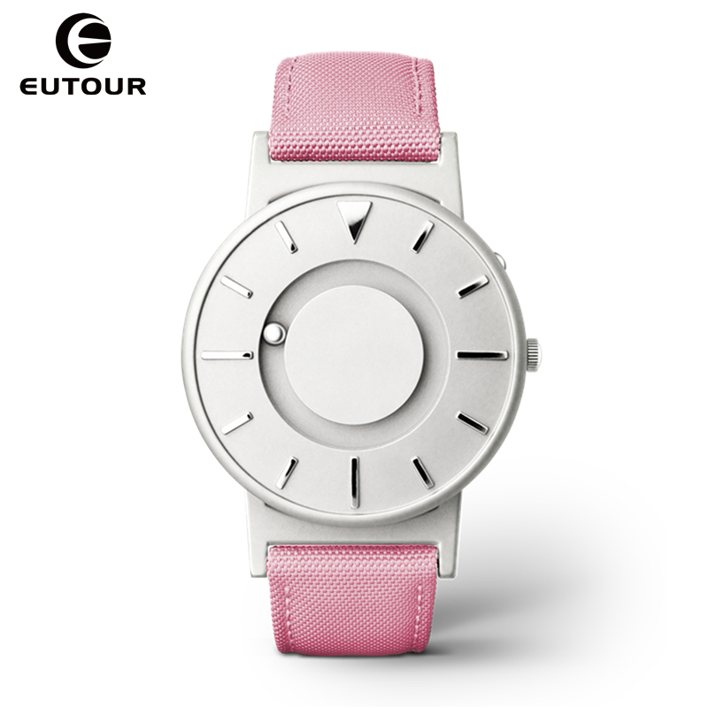 Eutour women watch magnetic ball pointer ladies simple fashion watches pink canvas strap watch for Magnetic watches