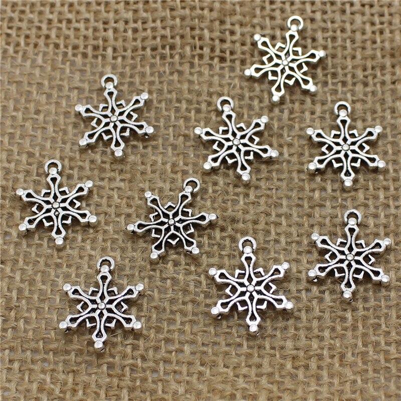 d18ec4069f29 Pulchritud 80 unids 15 24mm plata antigua puntea Snowflake Amuletos  Colgantes moda collar de Las pulseras de la joyería DIY Pendientes t0493