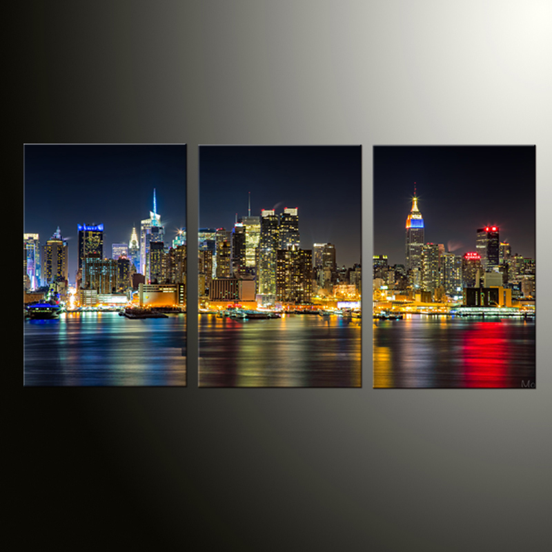 3 Panel Canvas Painting Abstract City Street Landscape