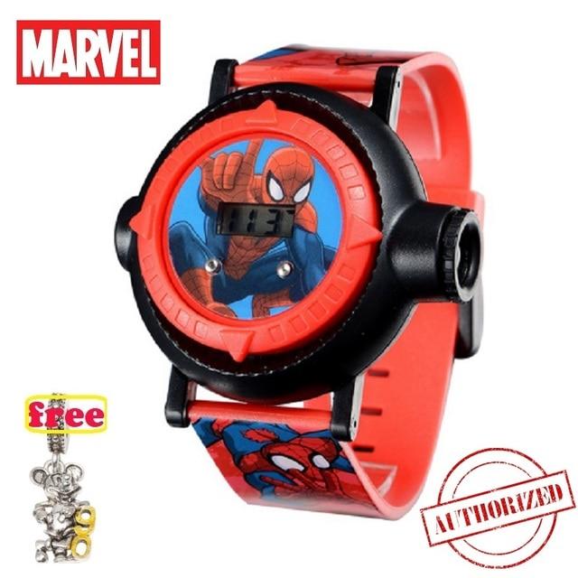 אמיתי מארוול עכביש איש הקרנת LED דיגיטלי שעונים ילדי מגניב קריקטורה שעון ילד יום הולדת מתנה דיסני ילד ילדה שעון צעצוע