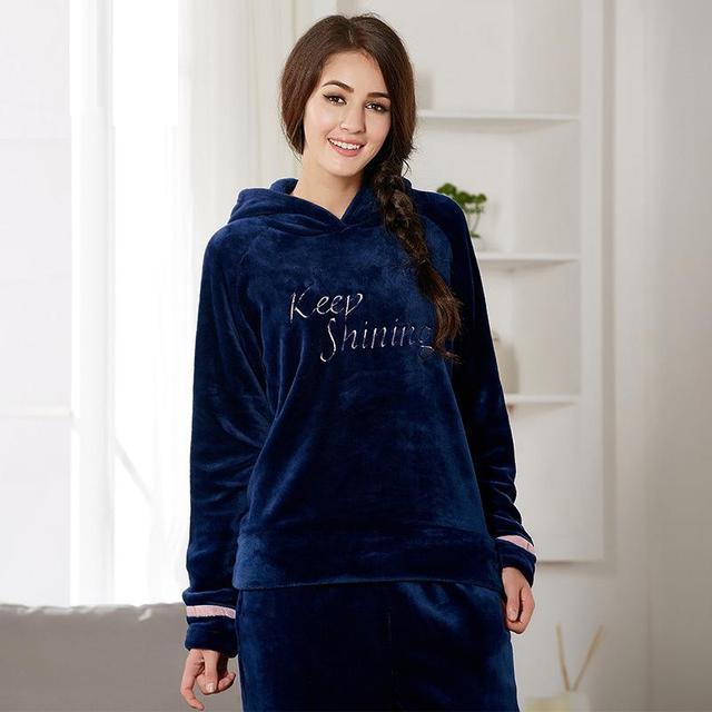 2016 nova moda Gola Lindo quente Com Capuz casuais pijama de Flanela terno