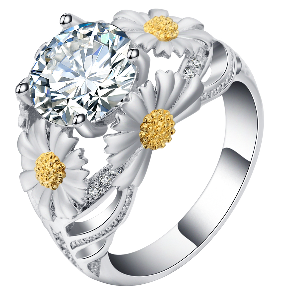 S925 mall Hot Sale Jewelry Ring white Gold Color Austrian Crystal sun Flower luxury Wedding Engagament Rings For Women