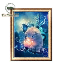 FineTime 5D DIY Diamond Painting Butterfly Cat Flower Partial Drill Embroidery Animals Cross Stitch
