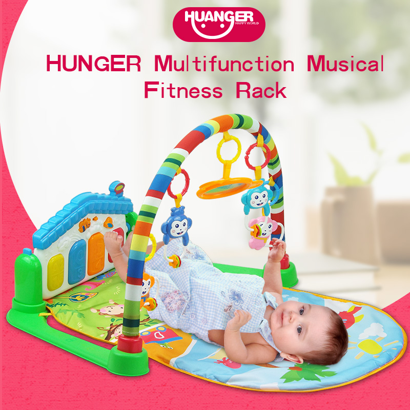 Huanger Baby 3 in 1 Play Mat Multifunction Piano Fitness Rack With Music Rattle Play Mat Children Educational Toy 5021retro design leather band analog alloy quartz wrist watch dropshipping new arrival freeshipping hot sales