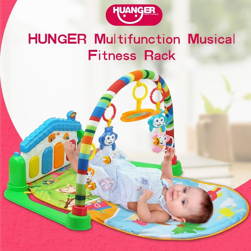 Huanger bébé 3 en 1 tapis de jeu multifonction Piano Fitness Rack avec musique hochet tapis de jeu enfants jouet éducatif