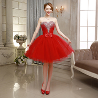 2016 Red Homecoming Dresses Tulle With Sparking Beads Bow Bandage Graduation Gown Short Prom Party Dress
