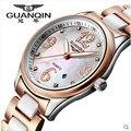 Лучший Бренд в Исходном GUANQIN Женщины Керамические Часы Сапфир Водонепроницаемый Женские Часы Часы С Бриллиантами Женщины Наручные Часы Montre Femme