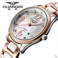 Top marca original guanqin mulheres relógios de cerâmica relógio de safira à prova d' água senhoras relógio relógio de diamantes mulheres relógios de pulso montre femme