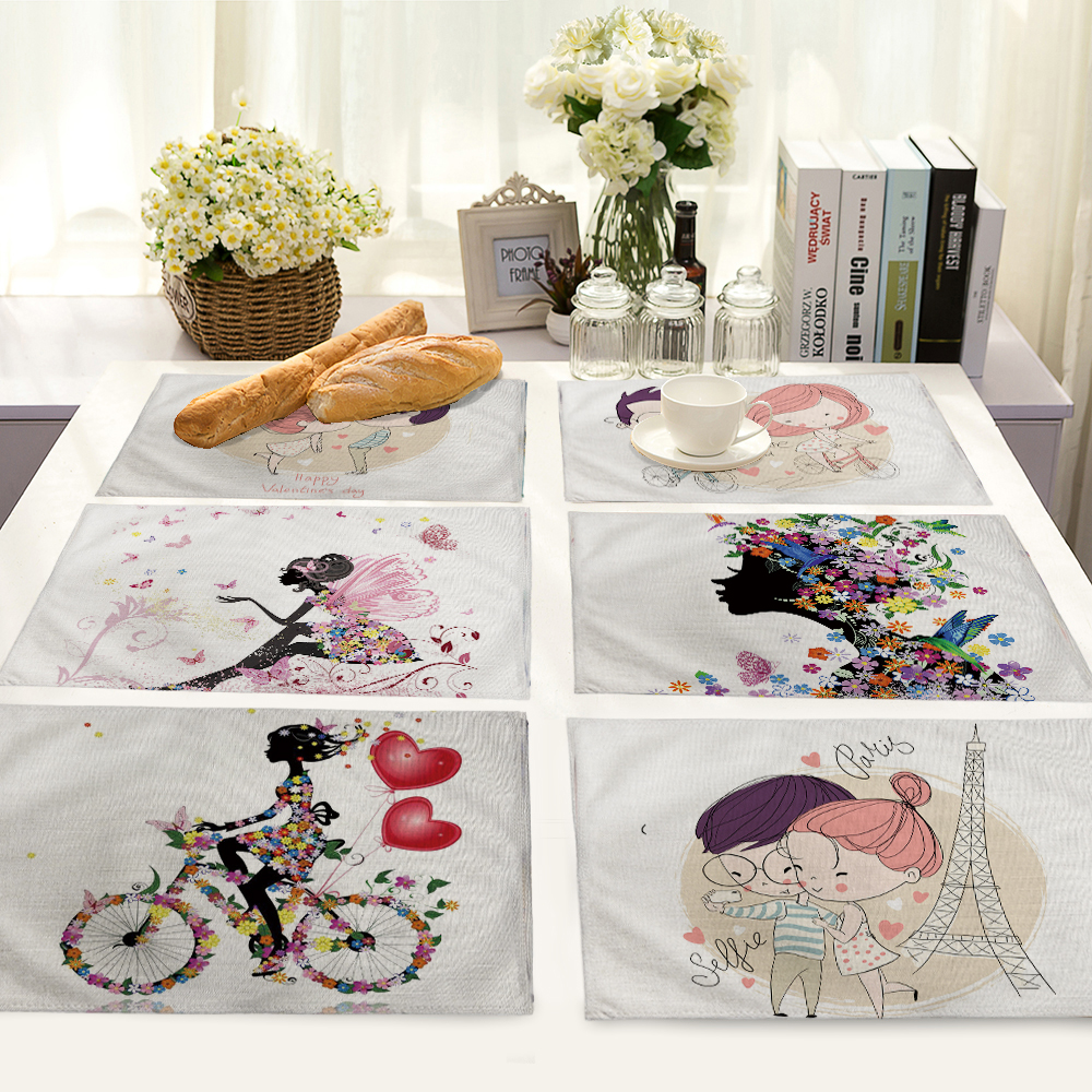lovely wedding Pattern Table Mat Table Napkin Placemat Kitchen Decoration Dining Accessories 42x32cm MC0031