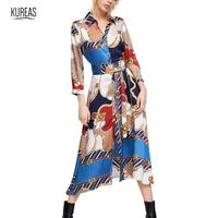 Kureas African Dresses for Women Dashiki Print Tunic Shirt Dress African Clothes with Belt Bodycon Bazin Vestido