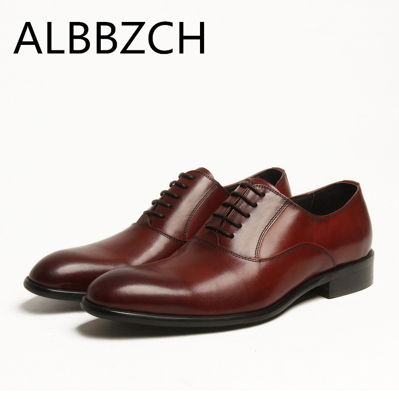 New oxfords men shoes genuine leather formal dress shoes men's suit wedding shoes business leisure party daily office work shoes