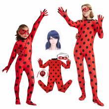 8660b0940 Niños adultos milagrosa mariquita traje rojo Lady Bug Mono para las niñas y  las mujeres Marinette fantasía Miraculous Ladybug Co.