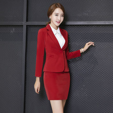 Novelty Red Fashion Slim Work Wear Suits With Jackets And Skirt Professional Autumn Winter Formal Blazers For Business Women Set