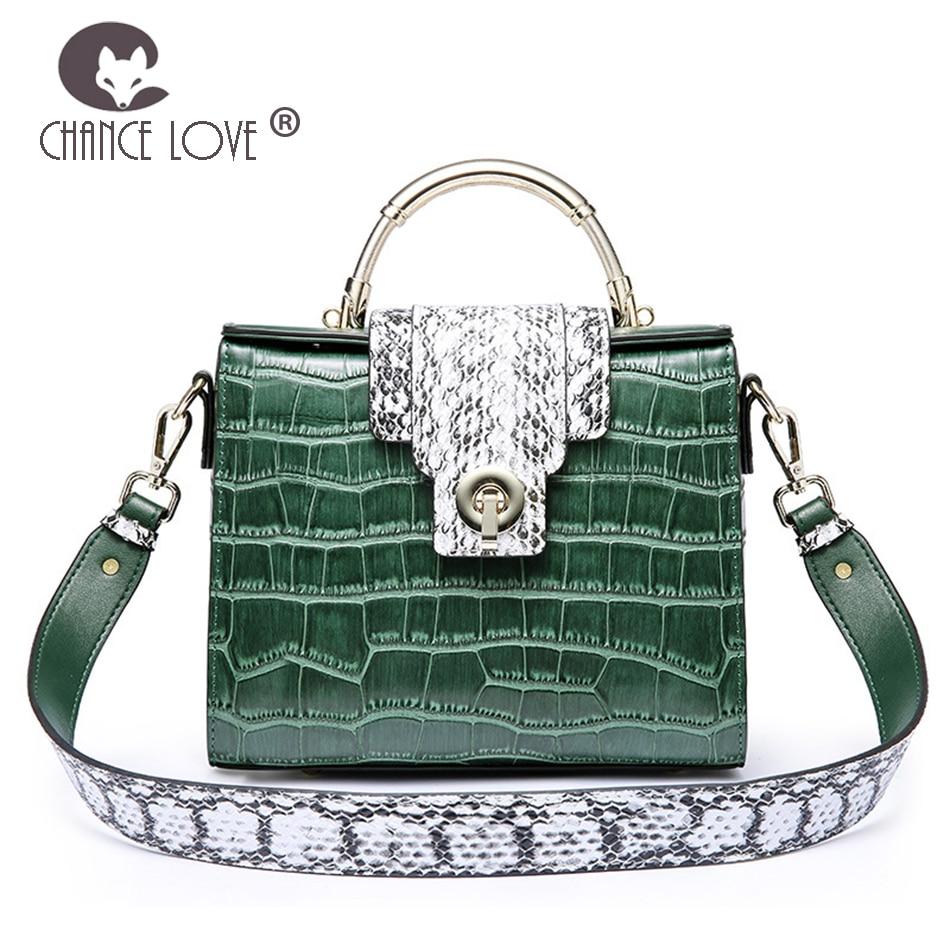 Chance Love 2018 Genuine Leather handbag Kelly bag female crocodile pattern shoulder bag fashion portable Messenger bag недорго, оригинальная цена
