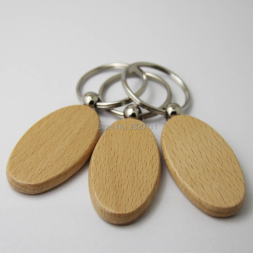 Wholesale 50pcs Blank Oval Wooden Key Chain DIY Promotion Customized Key Tags Promotional Gifts Free Shipping