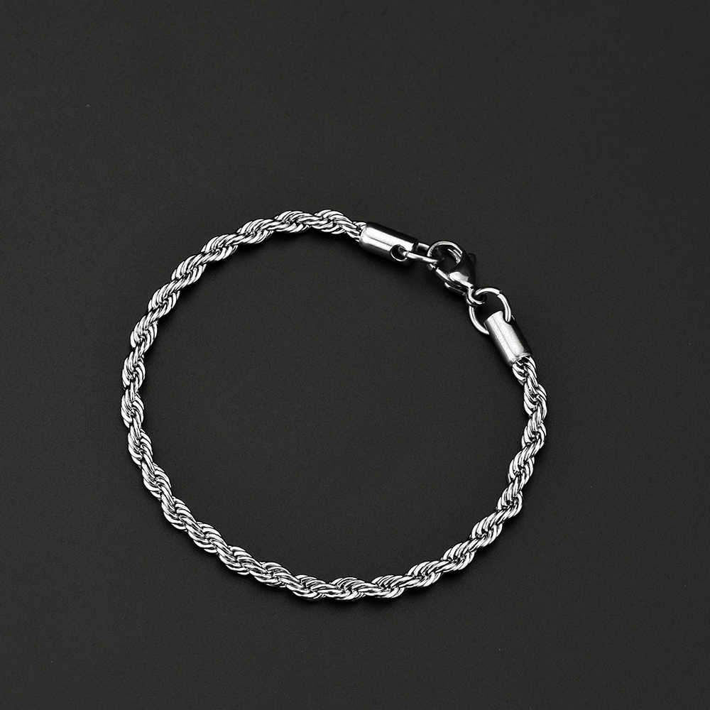 Wholesale low price stainless steel 4MM twisted rope chain bracelet Fashion men's titanium steel jewelry length 20CM drop ship