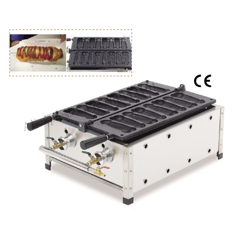 Gas Gayke Hotdog Waffle Machine Commercial Use Non-stick 8 Moulds Pennis-shape Hot Dog Waffle Maker