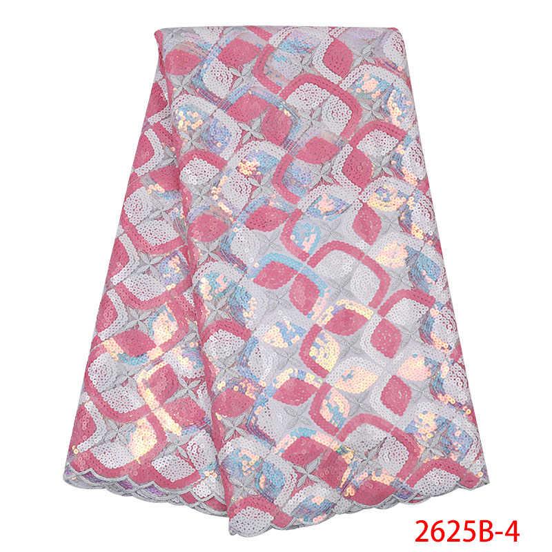 Французский тюль с блестками ткань Африканская кружевная ткань 2019 Высококачественная вышитая кружевная тюль ткань с блестками KS2625B-3