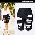 2016 Mulheres Sexy Buraco Mendigo Ripeed Jeans Stretch de Cintura Alta Bermuda Midi Magro Stretchy calças de Brim Shorts Curtos Plus-Size 42 44