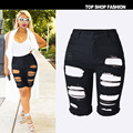 2016 Women Sexy Beggar Hole Ripeed High Waist Stretch Denim Midi Shorts Slim Stretchy Short Jeans Shorts Plus-Size 42 44
