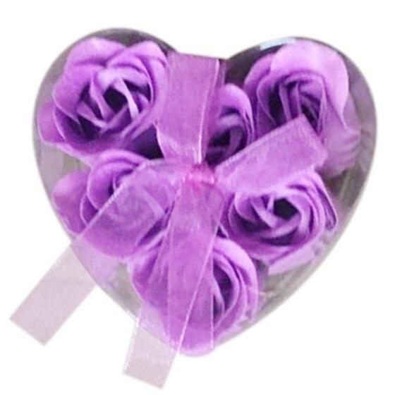 HHFF 6 Pieces Purple Bath Tub Shower Rose Petal Soap Floral Soap Soap