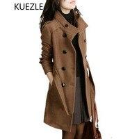 2018 New Women Trench Woolen Coats Winter Slim Double Breasted Overcoat Winter Coats Long Outerwear for Women Plus Size Coat 4XL
