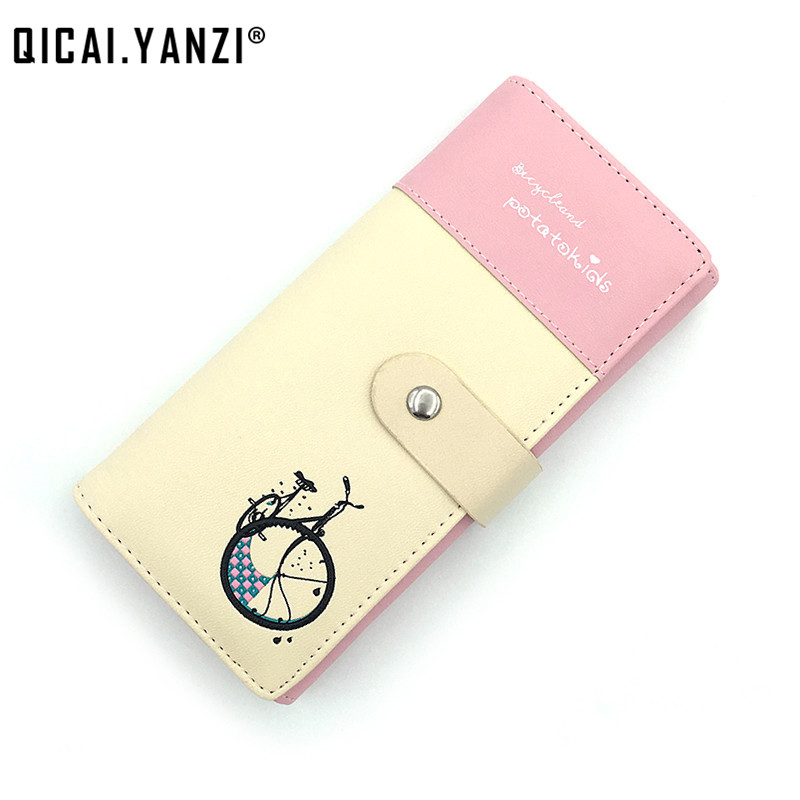 QICAI.YANZI Fashion Design Lady Women PU Leather Long Bicycle Pattern Purse Clutch Zip Card Holder Wallet Top Quality Gift N842 best gift famous brand logo luxury high quality pu leather checker pattern wallet zip plaid long women man wallet purse