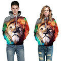 2016 Men Casual Sweatshirt Hoodie 3D Print Animal Hoodies Pullovers Cotton Tiger Lion Hoodie Sweatshirts Fashion Couple Clothing