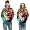 2016 ocasionales de los hombres sudadera con capucha de impresión 3d animal sudaderas jerseys de algodón tigre león sudaderas con capucha pareja de moda clothing