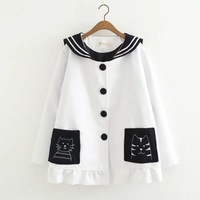 Autumn Winter Cute Kittens Embroidered Pockets Navy Wind Students Single Breasted Long Sleeve Loose Female Woolen