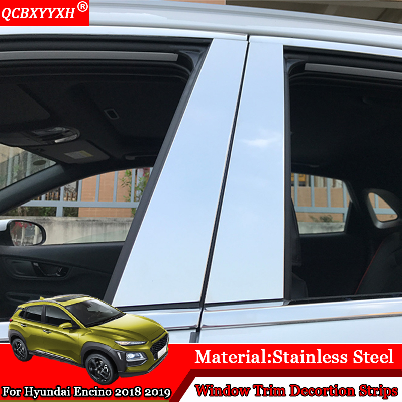 QCBXYYXH Car-styling Car External Window Sequins Decorations Stickers Frame Auto Accessories For Hyundai Kona Encino 2018 2019