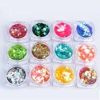 MIOBLET 12pcs Set Chameleon Nail Art Sequins Mixed Size Round Nail Sparkle Glitters Paillette Unicorn Nails