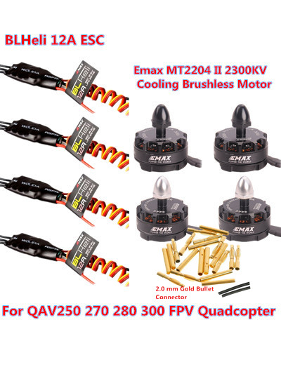 4pcs EMAX MT2204 II 2300KV Brushless Motor+4pcs Emax BLHeli 12A 2-4S Brushless ESC+2.0 Connector for 250 280 FPV RC Multicopters