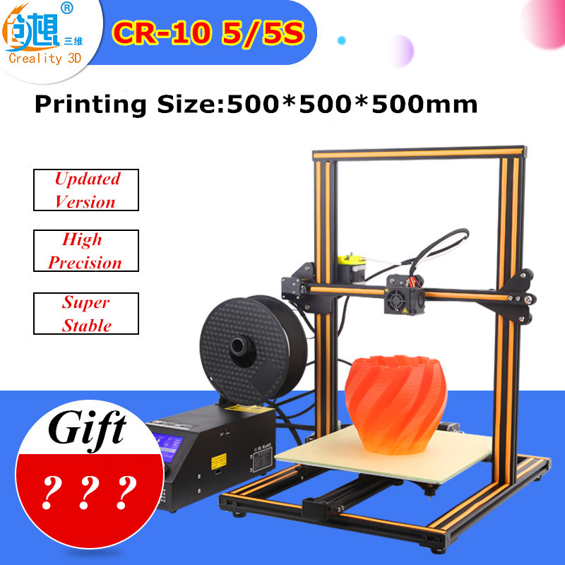 The Cheapest CR-10 3D Printer Kit Large Printer Size 500*500*500mm Creality 3D Printer 200g Filament+Hot bed+8G SD Card As Gift flsun 3d printer big pulley kossel 3d printer with one roll filament sd card fast shipping