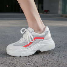 2019 Shoes Woman Leather Women White Sneakers Designer Casual 6cm