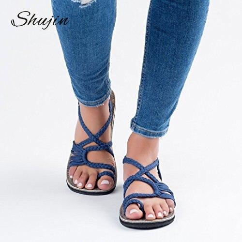 Schuhe Der GüNstigste Preis Shujin Frauen Sandalen Mode Gladiator Sandalen Sommer Schuhe Weibliche Flache Sandalen Rom Stil Kreuz Gebunden Sandalen Schuhe 35-43 # Neue