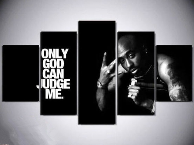 5 Panels Tupac Only God Can Judge Me Canvas Paintings Home Decor Vintage Wall Art Picture